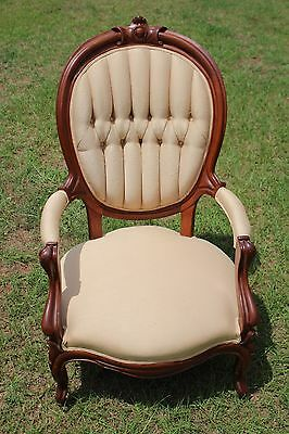 Victorian Parlor Arm Chair - Finger Carved Walnut, Cream Upholstery