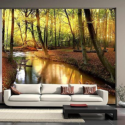 3d design vlies fototapete natur wald fluss gr sse 350 x 270 cm neu eur 149 90. Black Bedroom Furniture Sets. Home Design Ideas