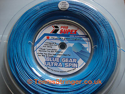 Pro Supex Blue Gear Ultra Spin Tennis String 200m, 1.28mm, Blue