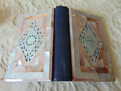 Vintage  New Testament POCKET Bible With JERUSALEM Mother Of Pearl Cover