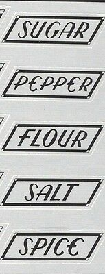 5 HOCKING SHAKER Replacement LABELS  - SPICE, SUGAR, FLOUR, SALT, and  PEPPER
