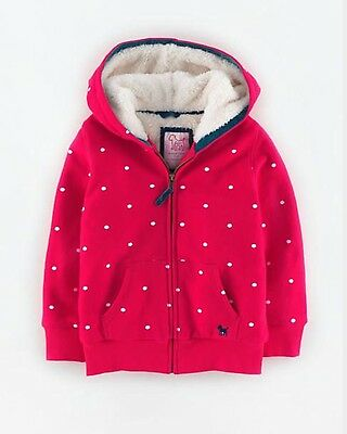 Mini Boden - Red/White Spot Fleece Lined Zip Hoodie - Age 3-4 yrs - Brand New