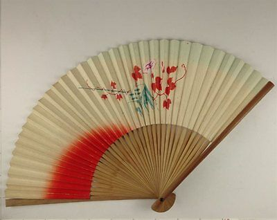 YU163 SENSU Plant Flower Japanese Fan Painting Nihonga Picture Geijyutu crafts