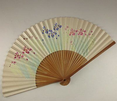 YU164 SENSU Plant Flower Japanese Fan Painting Nihonga Picture Geijyutu crafts