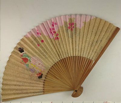 YU165 SENSU Kimono Bijin Flower Japanese Fan Painting Nihonga Picture crafts