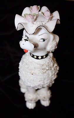 LARGE Vintage Gold Tipped WHITE Spaghetti Poodle Dog W/Flowery Hat/Bling Collar