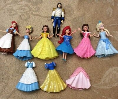 Lot Of 6 Polly Pocket Disney Princess Dolls With 9 Rubber Dresses BONUS Prince