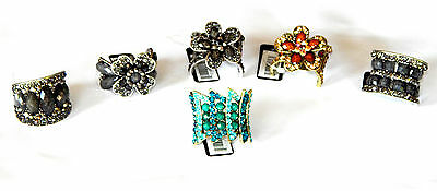 Nwt Colored Rhinestone Scarf Ring/slider Many Styles In Silver Or Gold Tone