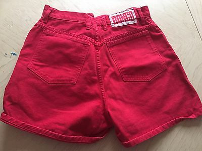 VTG BONGO Jean Shorts 80s 90s High Waisted  Red HOT Mom Sz 9 USA