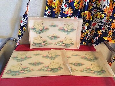 Vintage Meyercord Beauty Spot Decal Nip Nos Swans Lily Pads Bathroom 3 Sheets