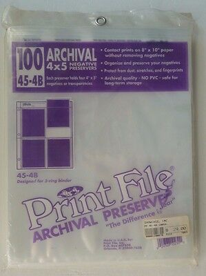 Print File Archival 4x5 Negative Preservers 45-4B x100 Pack of 100 Sleeves New