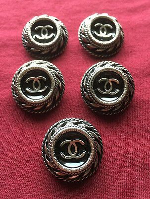 SALE!!! CHANEL 5  PRETTY Buttons Black and Silver 2.2 cm