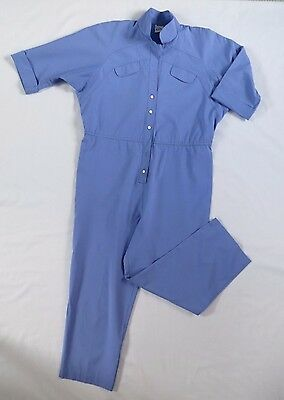 Vintage blue quarter sleeves workwear jumpsuit (Petite / XS / S) Made in USA