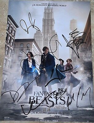 """Fantastic Beasts And Where To Find Them Multi Signed 12"""" x 8"""" Photo Eddie + 7"""