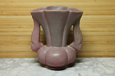 Beautiful Niloak Winged Vase Strange Pastel Pink and Powder Blue Glaze