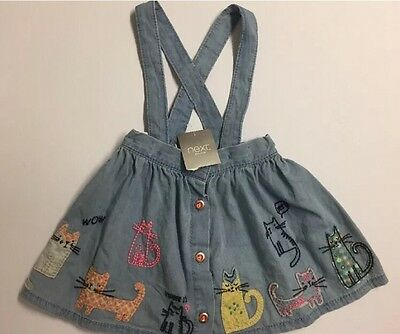 Baby Girl BNWT Cat Print Pinafore Skirt NEXT Age 9-12 Months