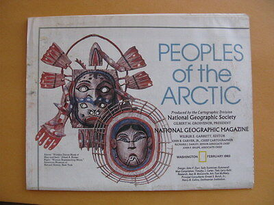 Peoples of the Arctic National Geographic Map / Poster Feb 1983