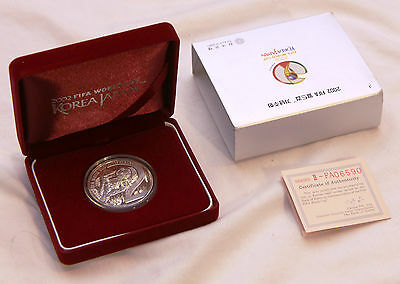 2002 Korea Japan Fifa Football World Cup 10000 Won Silver Proof Coin, Box & Coa
