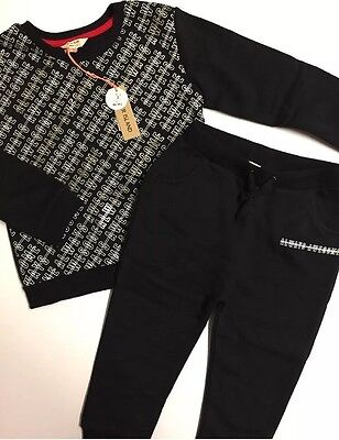 NEW River Island Outfit Set Printed Jumper and Joggers Black Age 2-3 years Boys