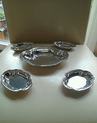 VINTAGE  SILVER SET OF FIVE AMERICAN TIFFANY & Co BON BON DISHES