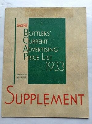 1933 Coca Cola Advertising Price List Supplement Posters Signs Salesman Rare