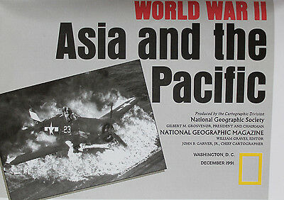 WW ll Europe & North Africa / Asia & Pacific  National Geo Map / Poster Dec 1991