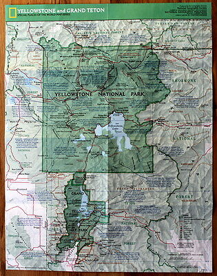 Yellowstone and Grand Teton  National Geographic Map / Poster Feb 1989