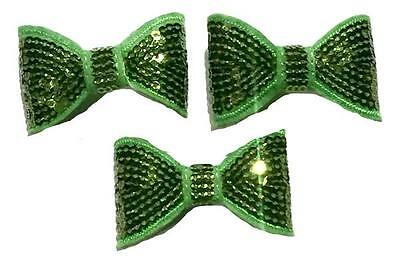 """3 pieces Lime green 2/"""" sequin bow tie //DIY baby headband /& hair bow supplies"""