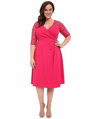 d3357617798 NWT AUTHENTIC KIYONNA Plus Size Lavish Lace Dress in Pink Passion ...