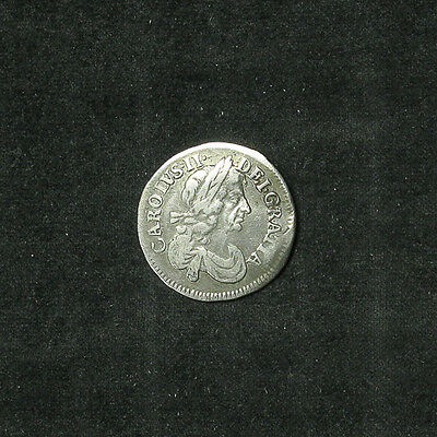 1678 Great Britain Three 3 Pence silver coin VF slightly bent Charles II