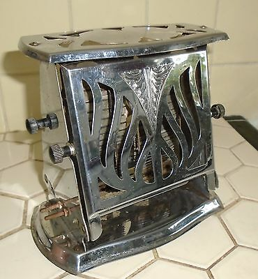 VINTAGE 1930s HEATMASTER ART DECO CHROME FLOPPER DOOR TOASTER AS IS FOR DISPLAY