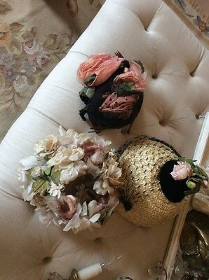 3 shabby antique Vtg old Millinery flower victorian  Hats
