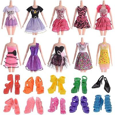 "10pcs 11"" Barbie Doll Clothes Handmade Wedding Dress Party Gown Outfits for G..."