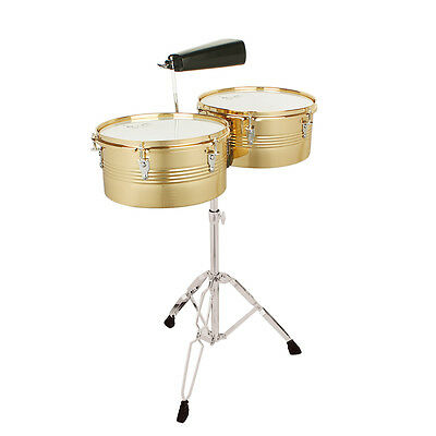 """LADE Professional Timbales 13"""" & 14"""" Drum Set Latin Percussion with Stand Golden"""