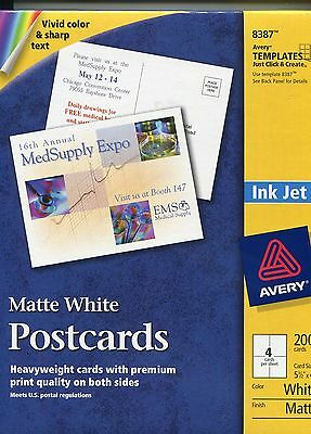 """Avery 8387 Matte White Postcards Open Box New 4"""" x 6""""Post Cards 200 Cards"""