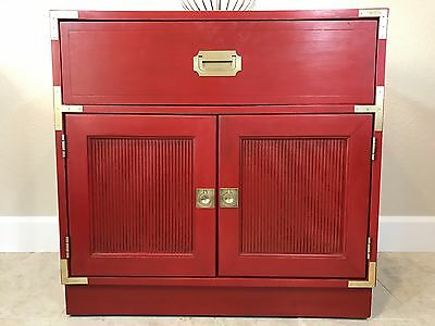 campaign-style media/bar/entryway cabinet, red with brass hardware