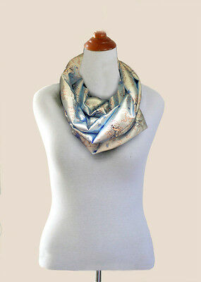 Unique. AFGHAN HOUND  INFINITY SCARF.Light Blue synthetic satin Original design.