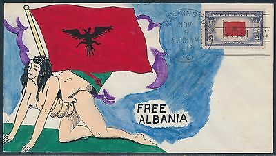 "#918 On Mae Weigand ""free Albania"" Hand Painted Fdc Cachet Bt8468"