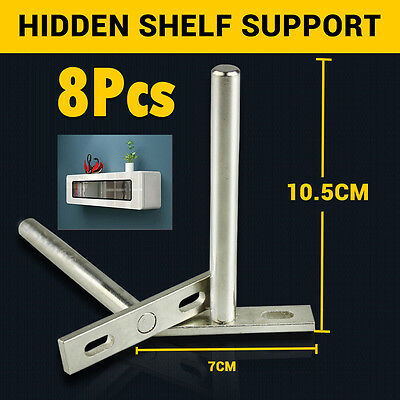 4 Pairs (8pcs) Heavy Duty Concealed Floating Hidden Shelf Support Metal Brackets