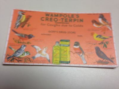 Vintage Ink Blotters With Birds Advertising Wampole's Creo-Terpin,set of 5