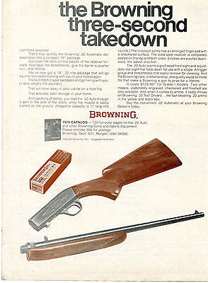 1974 Print Ad Browning Grade I Model .22 Automatic Rifle three second takedown