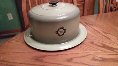 Vintage West Bend Avocado Green Cake Carrier Humidor Lock On Cover USA
