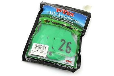 Ytex 4 Star Large Green Cattle Ear ID Tags Numbered 26-50