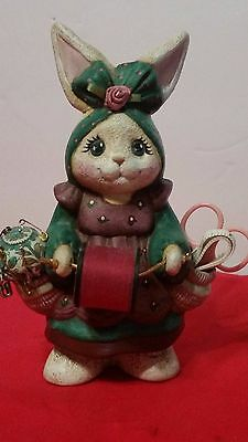 Super Adorable Rate Vintage Resin Plastic Girl Bunny Rabbit With Sewing Kit 7""