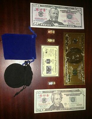 24K .999 GOLD US 100$ Banknote Lot Silver Bullion Gold Copper Flake +