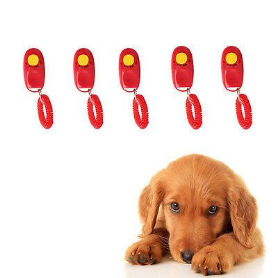 ... 5X Dog Click Clicker Training StyleTrainer Pet Trainer Wrist Strap Red