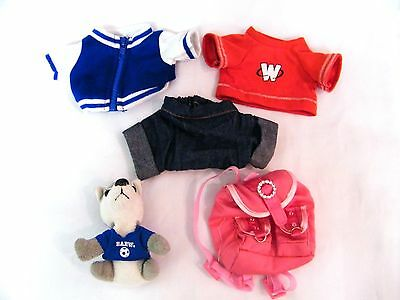Lot 5 Webkinz Build-A-Bear BABW Clothing Jacket Backpack Dog Jeans Accessories