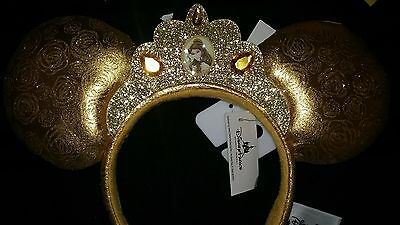 Disney Parks Belle Ear Headband Gold Satin & Glitter Minnie Mouse Ears w/ Crown