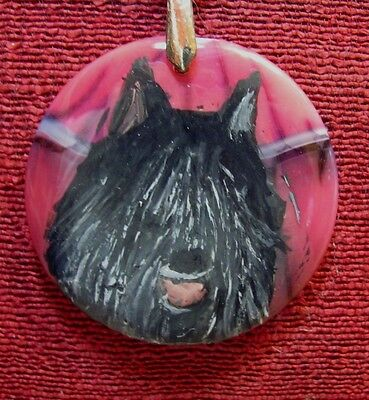 Bouvier de Flandres hand painted on round, tomato red Agate pendant/bead/necklac