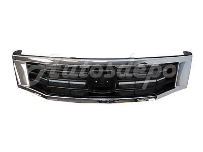 For 2008-2010 Honda Accord Grille Primed Black With Chrome Molding Trim